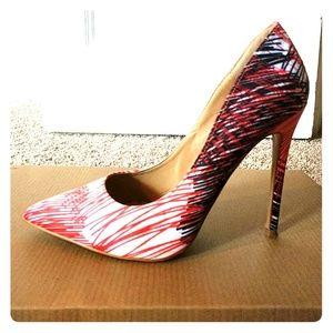 Funky pink and black print heels